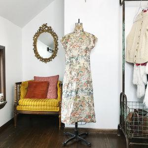 Vintage Gold Brocade Jacquard Cheongsam Dress